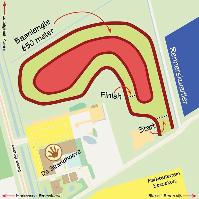 Situatieschets van het nieuwe crossterrein voor de Zuyderzeecross