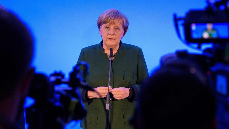 Angela Merkel, tijdens een persconferentie. Beeld AFP