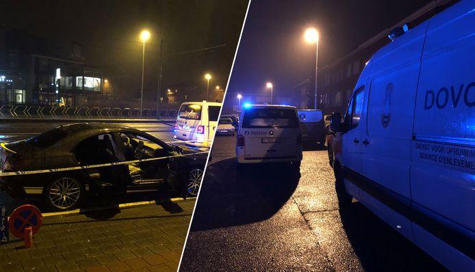 In Merksem werd een brandbom naar een wagen gegooid (links) en in Wilrijk werd een rijhuis beschadigd (rechts).