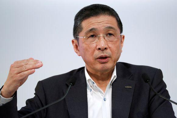 Nissan-topman Hiroto Saikawa eerder dit jaar bij de bekendmaking van de winst van het eerste kwartaal van 2019.