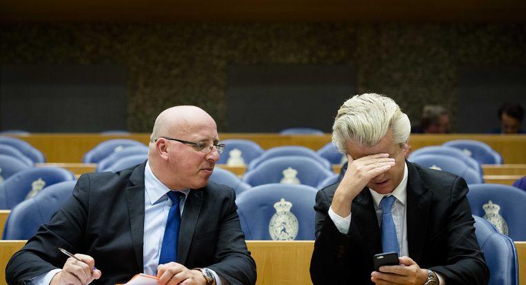 PVV-Kamerlid Sietse Fritsma met fractievoorzitter Geert Wilders. Beeld ANP