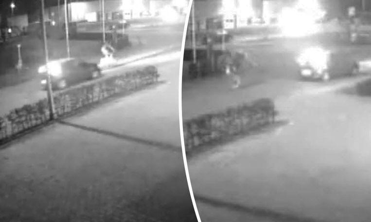 Op de videobeelden is te zien hoe de wagen de fietser aanrijdt.