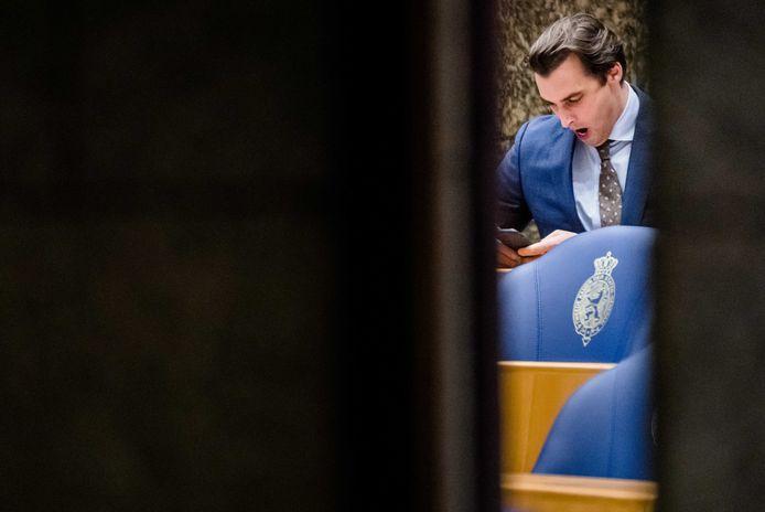 Thierry Baudet (FvD) tijdens een debat in de Tweede Kamer.