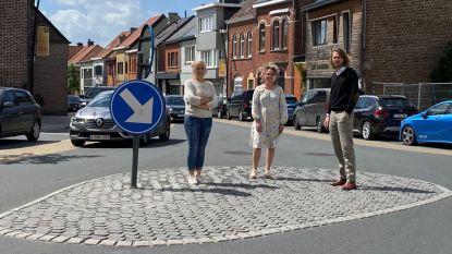 Drie Shop&Go-parkeerplaatsen en blauwe zone in Hogeweg in Erembodegem