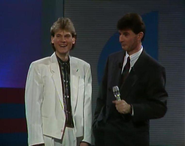 Francois in 1988 in de 'Pak de poen show' samen met presentatorLuc Appermont.
