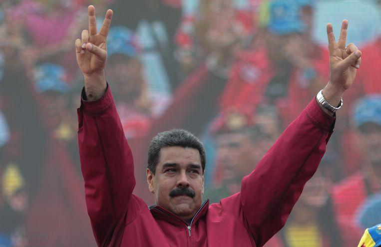 President Nicolas Maduro tijdens de pro-regeringsbetoging.