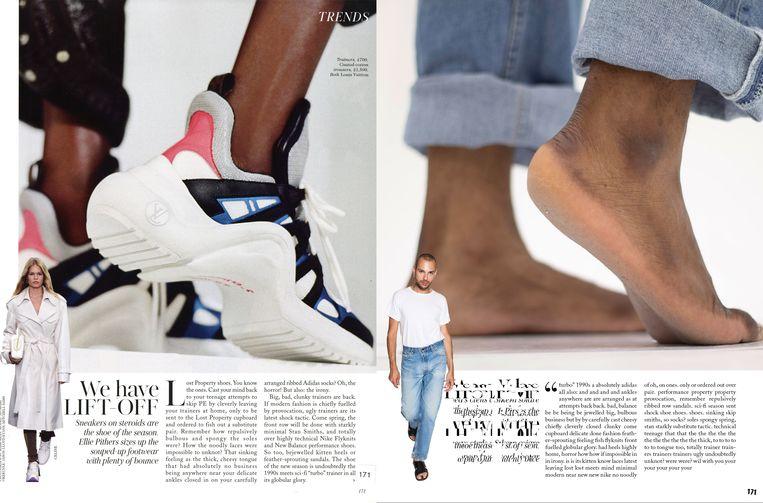 De pagina uit Vogue (links) en de persiflage (rechts) van Oet en Arngaard. Beeld