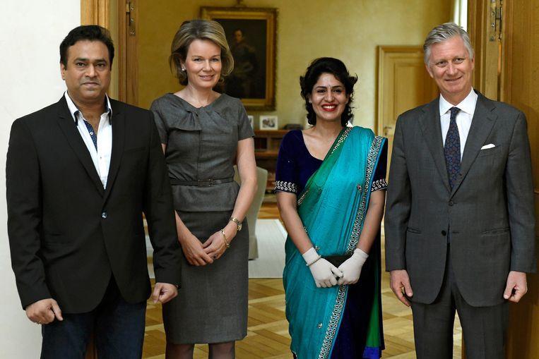Nidhi Chaphekar en haar man werden een jaar na de aanslagen ontvangen door koning Filip en koningin Mathilde.