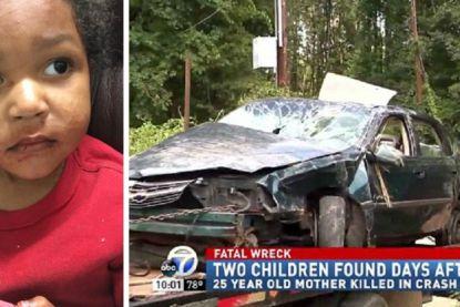Kleutertjes zitten twee dagen lang in autowrak in greppel nadat mama sterft bij ongeval