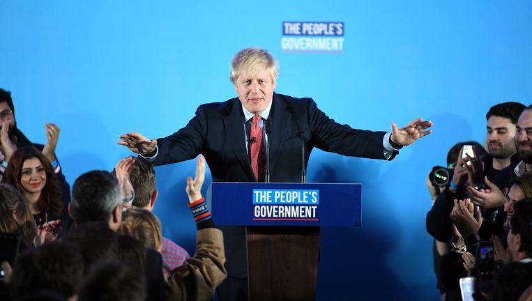 Boris Johnson tijdens zijn overwinningsspeech. Beeld null