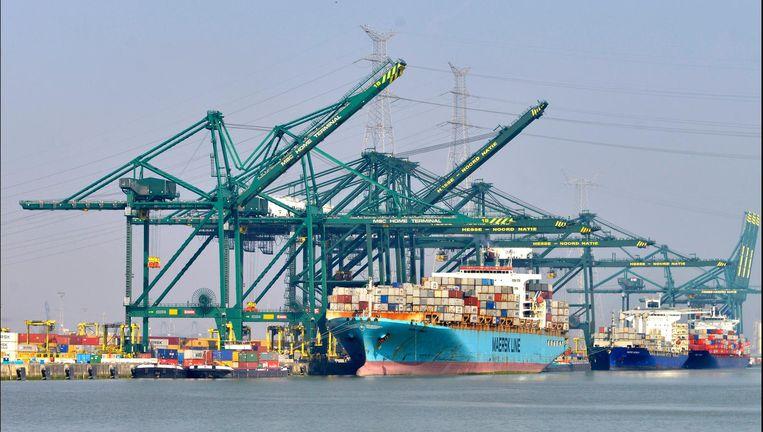 Containerschepen lossen hun lading in de haven van Antwerpen Beeld Flip Franssen / Hollandse Hoogte