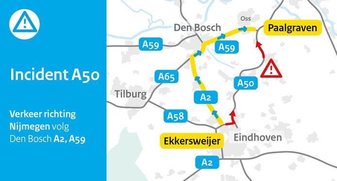 De omleidingsroute van Rijkswaterstaat.