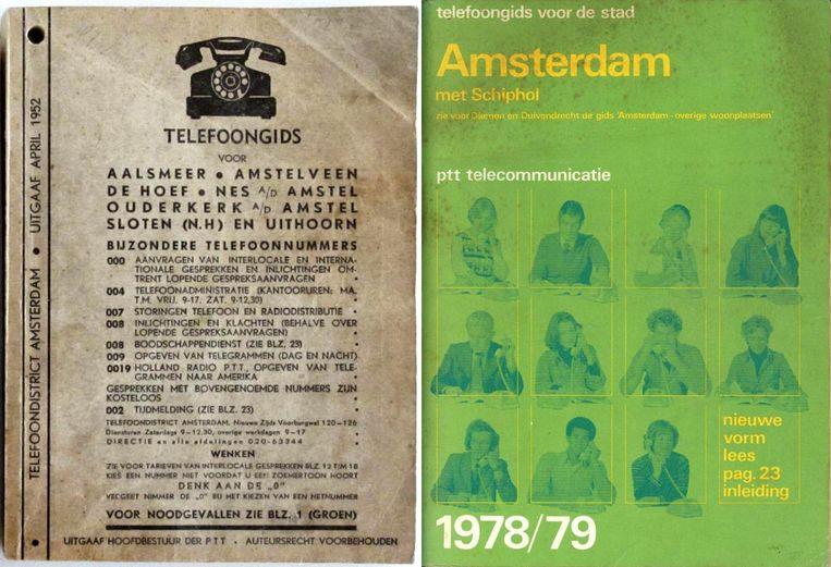Telefoogidsen van PTT uit 1952 en 1978 Beeld