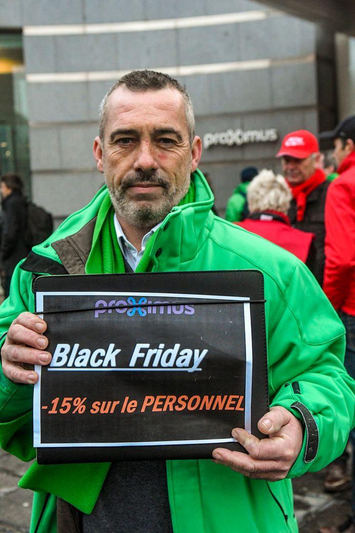 Action syndicale devant le siège de Proximus, mercredi 27 novembre