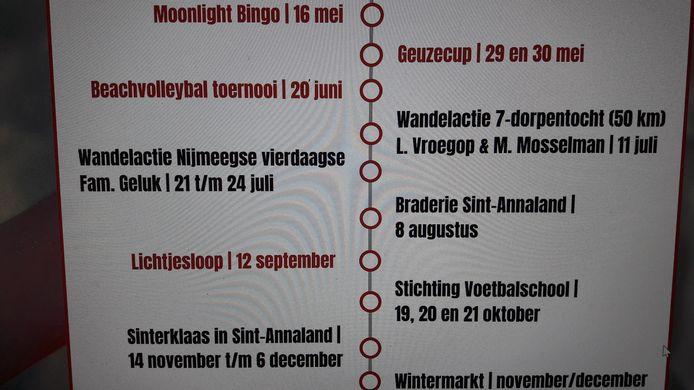 Een greep uit de voorgenomen activiteiten van Stichting Vrienden van Siem voor dit jaar. De meeste evenementen kunnen niet doorgaan. Vanwege corona wordt alles een jaar doorgeschoven.