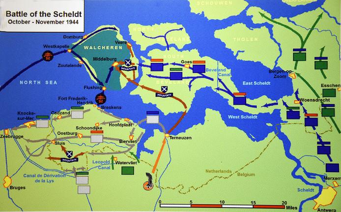 Overzicht van de gevechtsbewegingen in de Slag om de Schelde, november 1944.