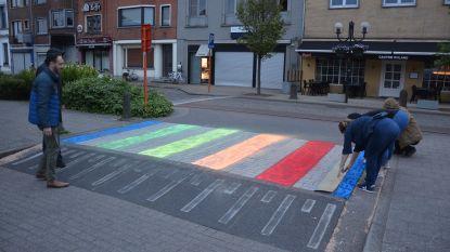 Benjamin Jacobs (Groen) schildert zebrapad met guerilla-actie in regenboogkleuren