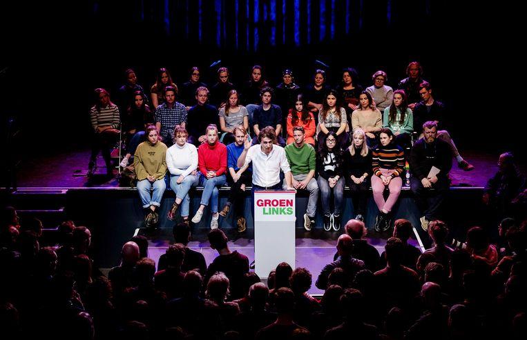 Jesse Klaver tijdens een Klimaat Meetup van GroenLinks in het Paard van Troje in Den Haag. Daar lanceerde hij een voorstel om de klimaatcrisis te doorbreken.  Beeld ANP, ROBIN VAN LONKHUIJSEN