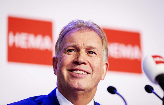 Ondernemer Marcel Boekhoorn tijdens de persconferentie over de overname van Hema. De zakenman koopt de warenhuisketen van Lion Capital, dat al langer op zoek was naar een koper.