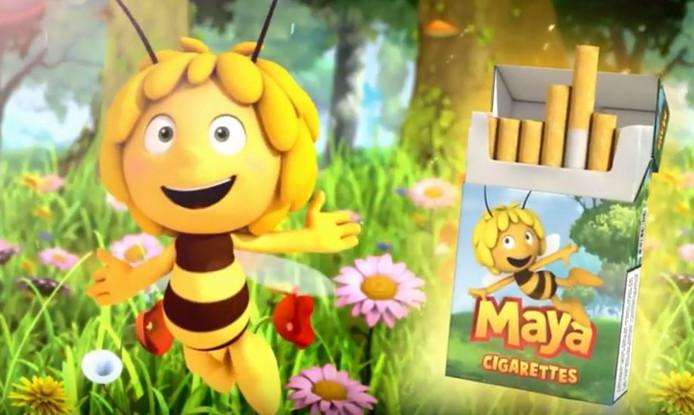 In het filmpje prijst Maya De Bij sigaretten aan 'in handige kleine doosjes, voor de kleine kinderhandjes.'