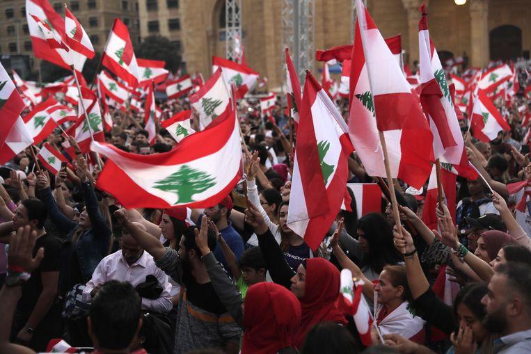 Demonstranten in Libanon eisen hervormingen van het politieke systeem.  Beeld AFP