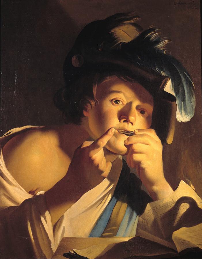 De jongen met de mondharp, van Dirck van Baburen, een van de volgelingen van de Italiaanse schilder Caravaggio.
