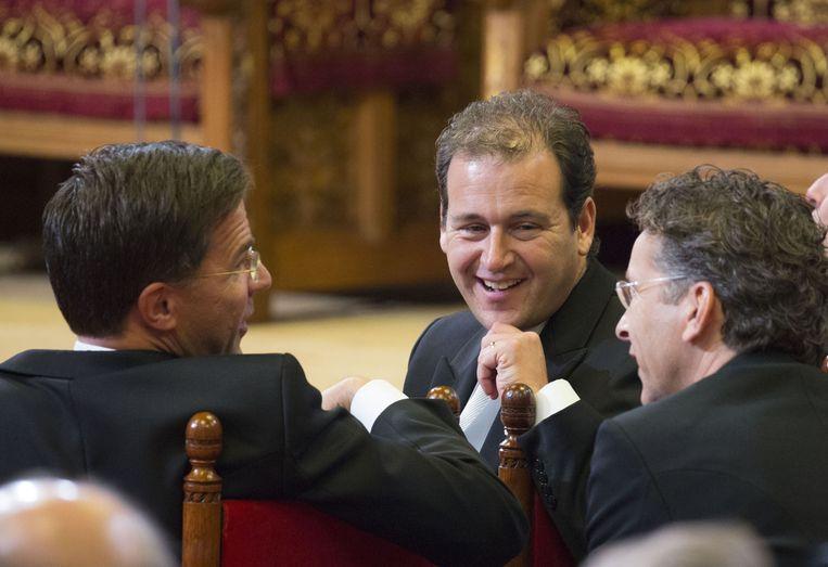 Mark Rutte, Lodewijk Asscher en Jeroen Dijsselbloem gisteren in de Ridderzaal. Beeld getty