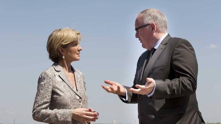 Minister Frans Timmermans met zijn Australische collega Julie Bishop Beeld ANP