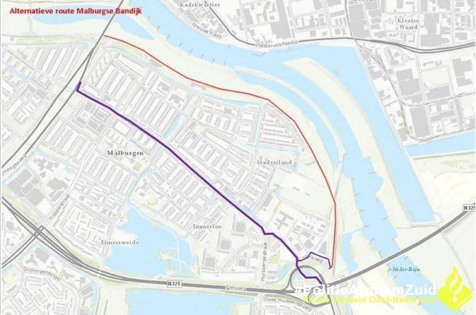 De alternatieve route voor de Malburgse Bandijk, waar geen brom- en snorfietsers mogen rijden.