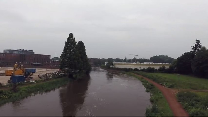 Hoogwater in de Bocholter Aa.
