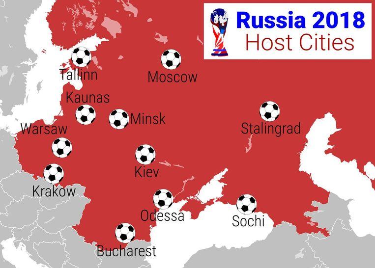 Speelsteden WK 2018. Beeld null