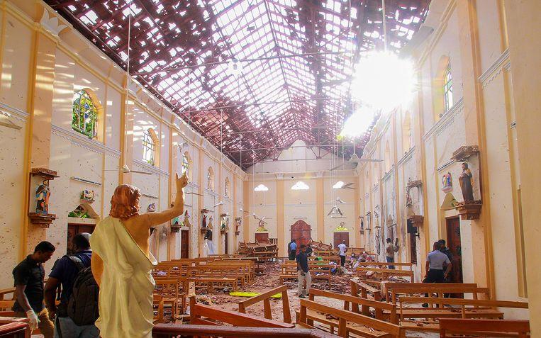 Een beeld van Jezus Christus in de kerk van St. Sebastian in Negombo. Beeld null