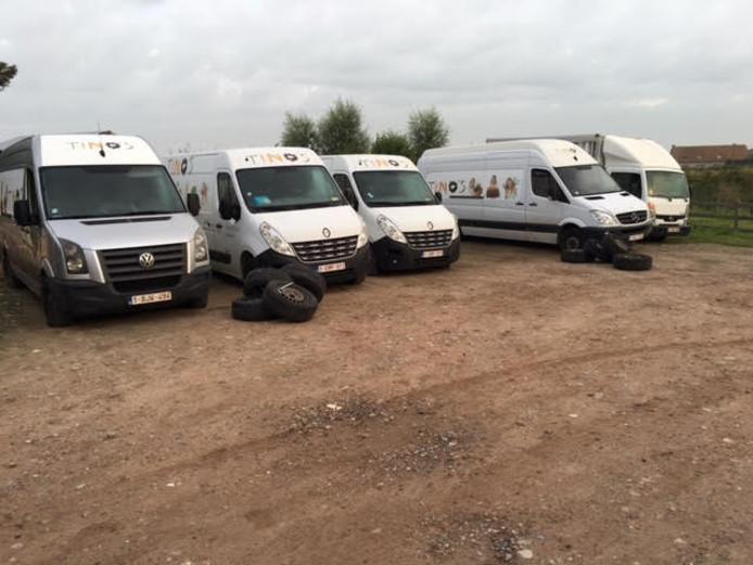 De lekgestoken bussen en vrachtwagen bij Tino's fruit
