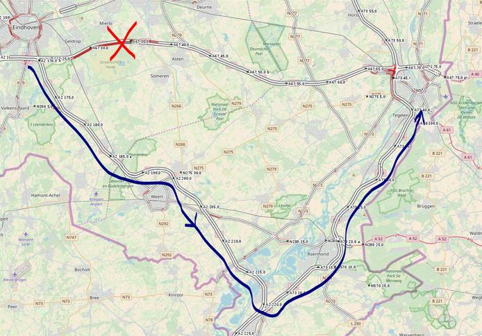 Het afgesloten stuk van de A67.
