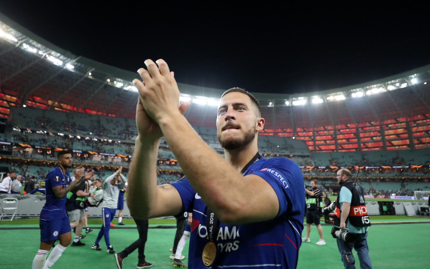 Chelsea's Eden Hazard celebrates after the UEFA Europa League final at The Olympic Stadium, Baku, Azerbaijan.