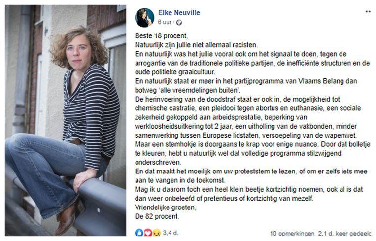 De bewuste facebookpost van tv-maakster Elke Neuville is niet langer te delen, een gevolg van de toestroom aan negatieve reacties.