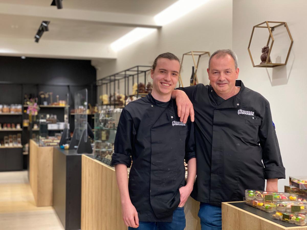 Stijn (links) en Janique Vandenbouhede (rechts) openen nieuwe chocolatier.
