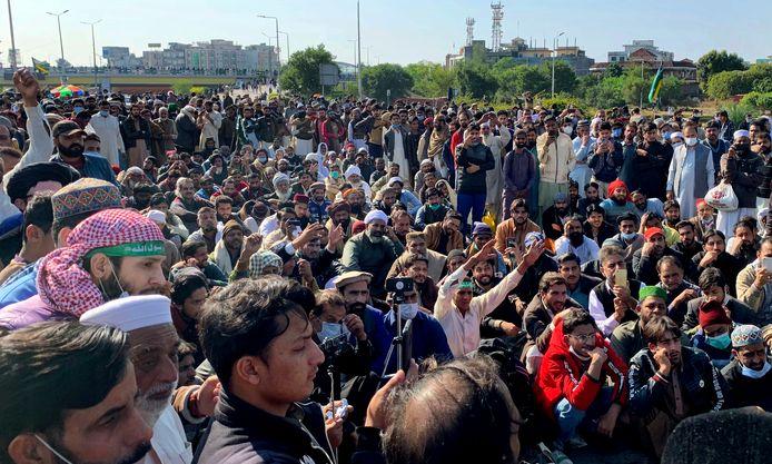 Aanhangers van TLP tijdens het protest in Islamabad.
