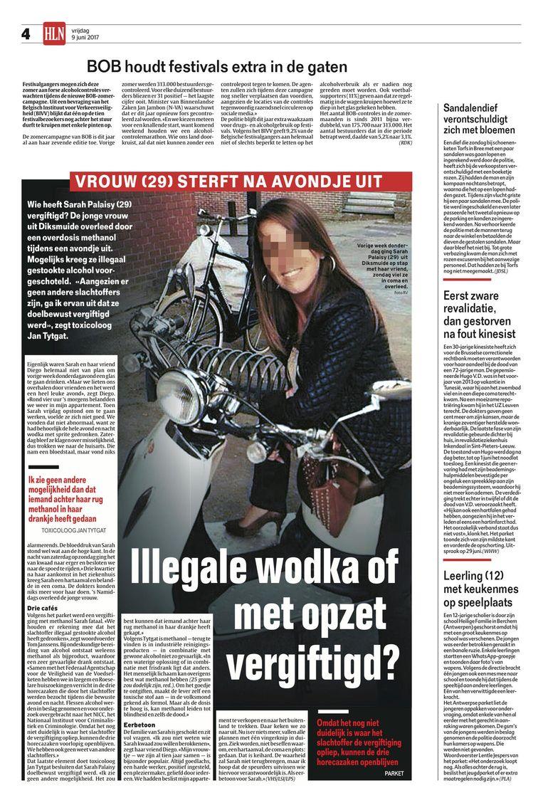 Het artikel dat verscheen na de dood van Sarah Palaisy, die op 5 juni overleed aan een overdosis methanol.