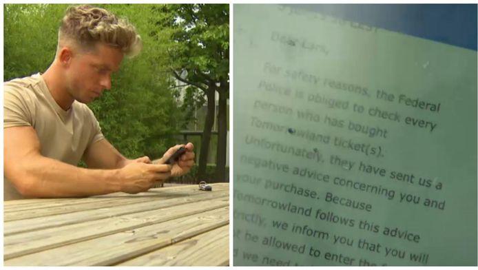 Lars Laeremans toont het mailtje waarin hem wordt meegedeeld dat hij niet welkom is op Tomorrowland.