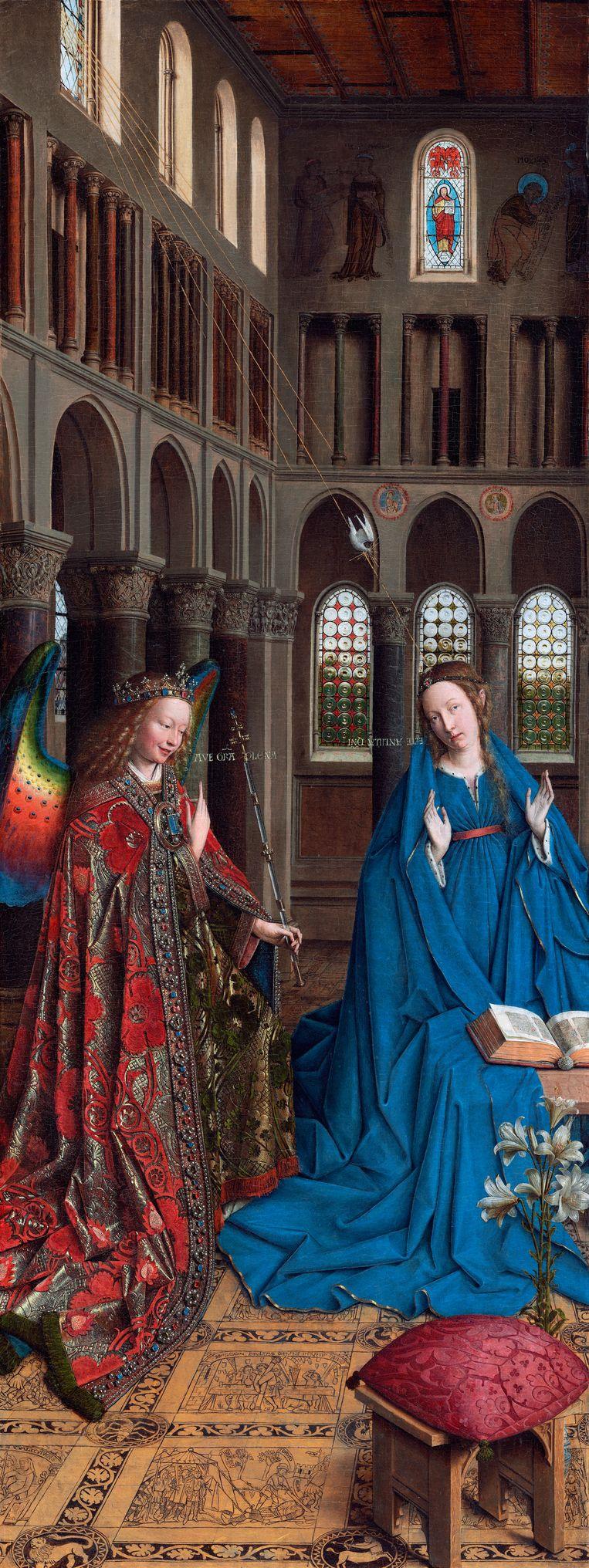 Jan van Eyck, Annunciatie, 1434-1436, National Gallery of Art, Washington DC Beeld Getty