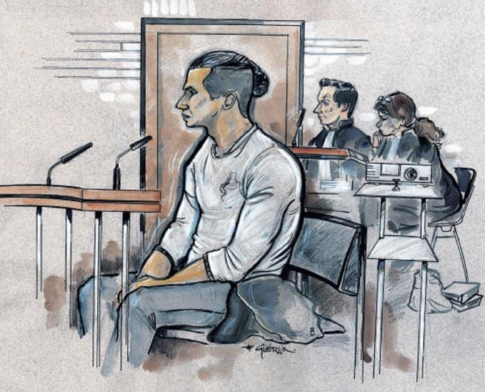 Reda N. tijdens de behandeling van zijn rechtszaak.