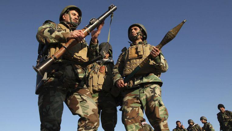 Koerdische Peshmerga-strijders nabij Mosoel vorige maand.