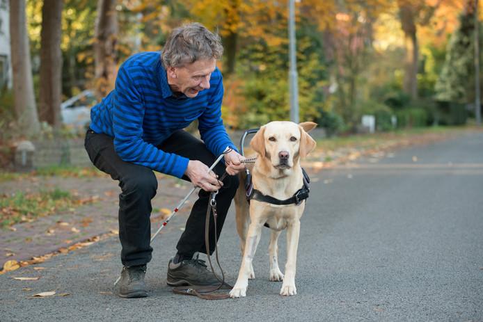 Cees Karssen met zijn blindengeleidehond Amalia, die eind vorig jaar een bezoekje aan het Belvederebos bijna met de dood moest bekopen.