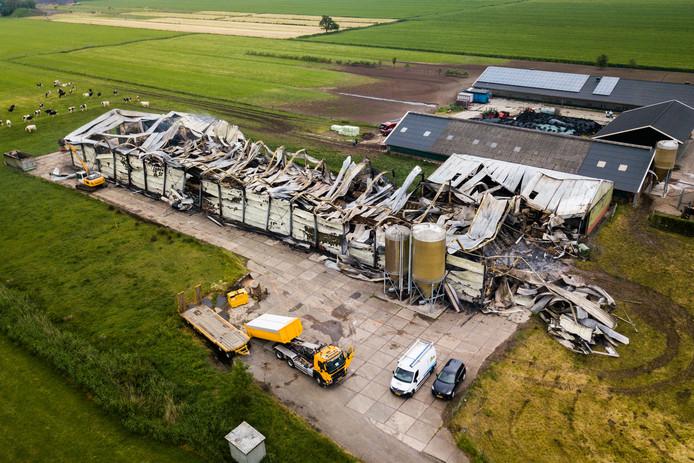 De afgebrande schuur van de familie Vernooij  aan de Rijndijk in Wijk bij Duurstede.