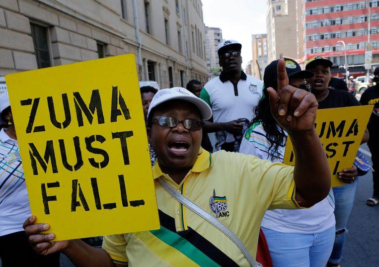 Demonstranten eisen het aftreden van Zuma. Beeld epa