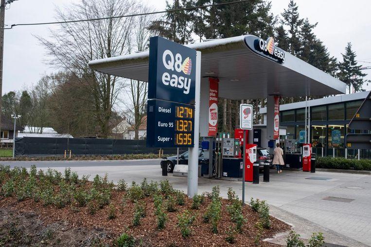 Het onbemande Q8-tankstation aan de Kapellei.