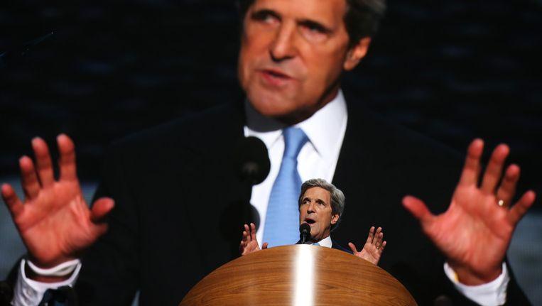 John Kerry spreekt tijdens de Democratische Conventie. Beeld getty