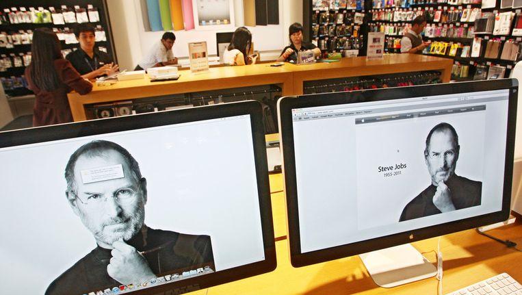 Een Apple winkel in Jakarta. In Indonesië stonden de social media bijna volledig in het teken van het overlijden van Steve Jobs. Beeld ap