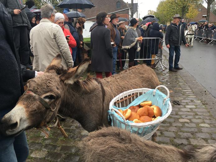 Een ezel draagt de mand met mastellen.